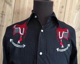 Vintage Atlantic Western Longsleeve Cowboy Pearl Snap Button Down Shirt - vintage shirt - cowboy shirt - vintage clothing (L)