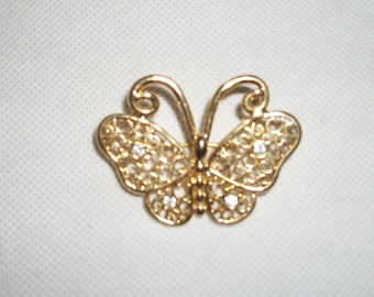 Vintage Gold-tone and Rhinestone Butterfly Brooch/Pin