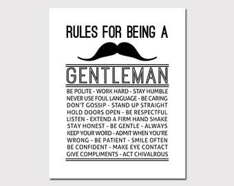 PRINTABLE ART Gentleman Rules Boys Wall Decor Boys Wall Art Rules For A Gentleman