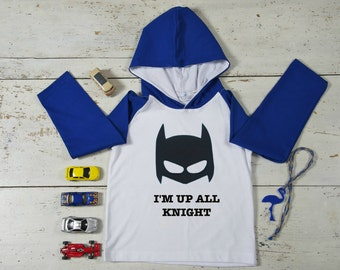 Batman Boy T-shirt, I'm Up All Knight, Cotton T-shirt with Hood, Hand Painted Boys Tees,