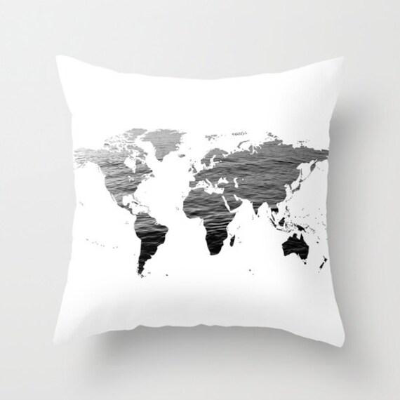 Ocean Texture Map Pillow Cover, World Map Home Decor, Interior Design, Accent Piece, World Map Pillow, Black White Pillow,Office Pillow,Dorm