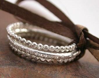 Dot - Dash - Dot  Sterling Silver Stacking Rings - Set of 3 Rings - Made to Order