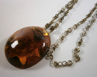 """Large Genuine Baltic Amber Necklace, Amber Pendant, Vintage Amber Pendant  Necklace,  2"""" Natural Amber Pendant"""
