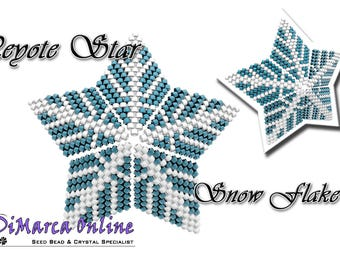 Beading Pattern/Tutorial Snow Flake 3D PEYOTE STAR + Basic Instructions