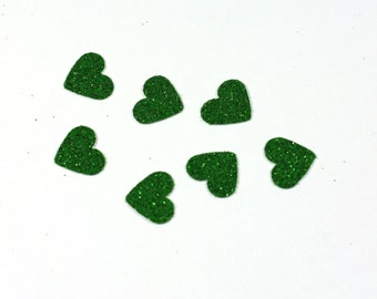 Little Green Glitter Hearts - Table Scatter confetti - Cardstock Hearts - .5 inch hearts - Wedding and Party Decoration