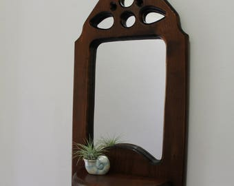 Vintage Decorative Mirrored Wooden Shelf Wall Art 1970s