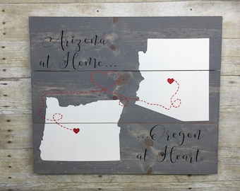 State Sign, Moving Wooden Sign,  Anniversary Gift, Wedding Gift, Farmhouse Decor, Rustic Decor, Custom Anniversary Gift, 16x20 Pallet