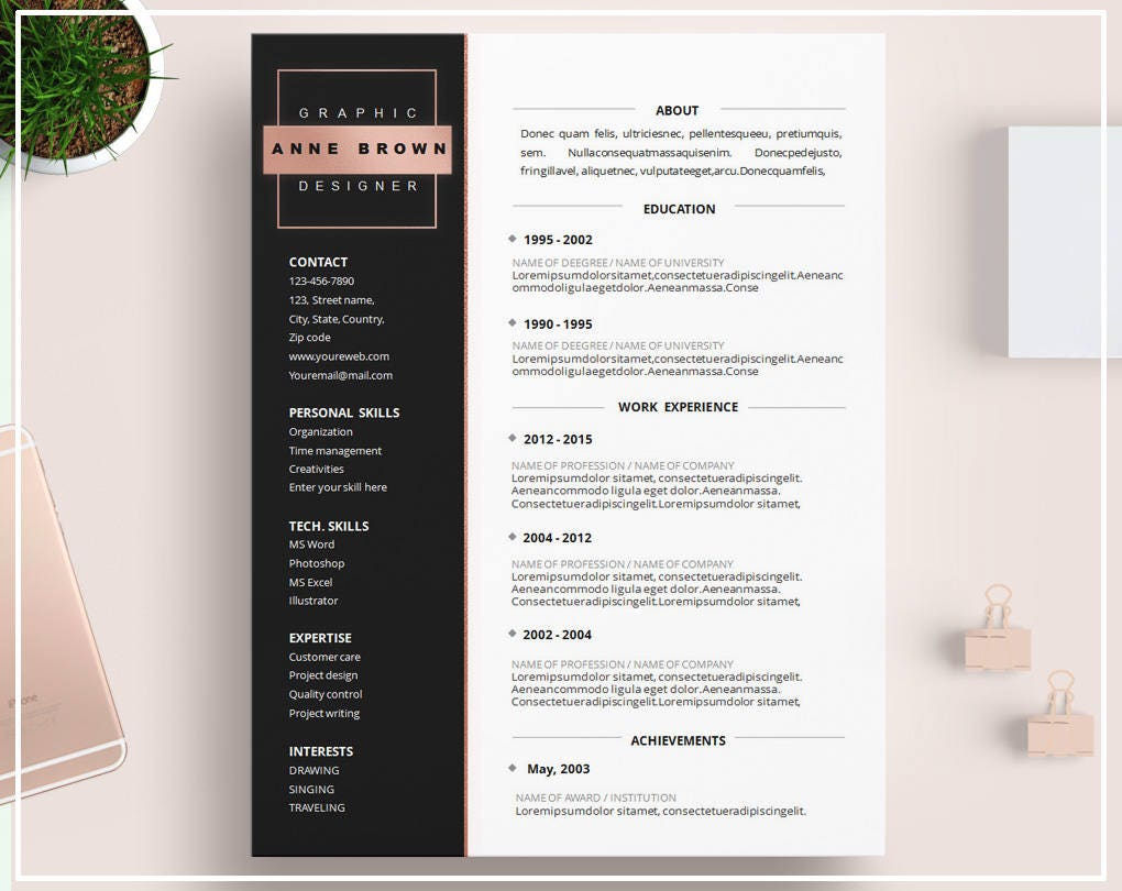 Plantilla de curriculum vitae de oro rosa / rosa oro plantilla