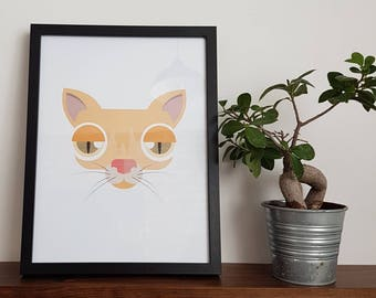 Ginger Cat Art Print Wall Decoration