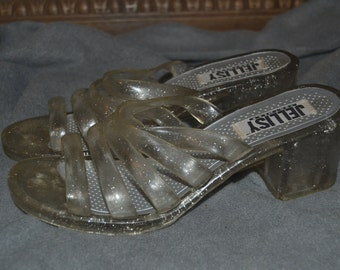 Vintage 90s Glittery Clear Platform Jelly Sandals by Jellisy Size 7 1/2-8