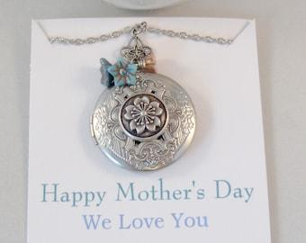 Mothers Day,Mandala Garden,Floral Locket,Floral Necklace,Flower Necklace,Blue Necklace,Mothers,Mothers Locket,blue flower valleygirldesigns
