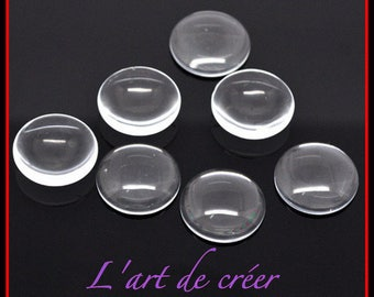 Set of 10 cabochons missing 18 mm clear round glass