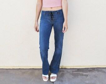 Low Rise Denim Lace-Up Flare Jeans