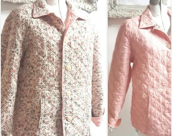 Shabby Quilted reversible Jacket, Dainty floral Jacket, Cottage Chic