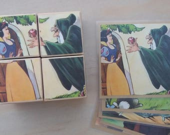 Wooden Puzzle Storyblocks - Handmade from repurposed 'Snow White' Little Golden Book
