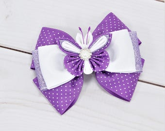 Girls Easter Hair Bow Toddler Easter Outfit Toddler Hair Clip Small Easter Bow Toddler Easter Dress Purple Easter Bow Butterfly Hair Clip