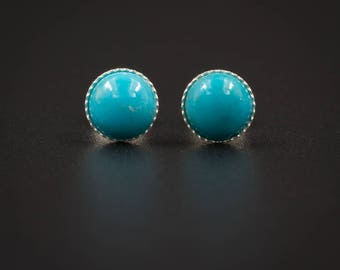 Turquoise stud earrings  turquoise and sterling silver cabochon stud gemstone earrings genuine turquoise stud earring gemstone studs