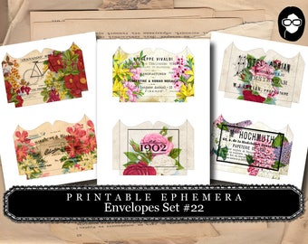 Printable Envelopes #22 - 3 Page Instant download - envelope templates, envelope template, digital roses floral, mini envelopes