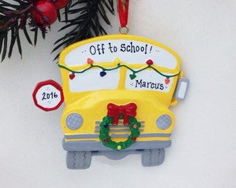 Yellow School Bus Personalized Christmas Ornament / Bus Driver Christmas Ornament / School Ornament / Child Christmas Ornament