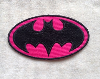 Batman Super Hero Logo Iron On Patch #Pink
