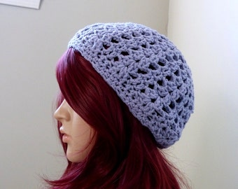 Lavender Shell-Stitched Slouchy Beanie