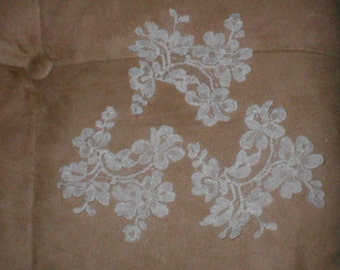 lot of 5 Vintage French Chantilly Lace Appliques  ivory