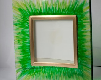 Green and gold, hand painted glass photo frame 3 x 3 inches square