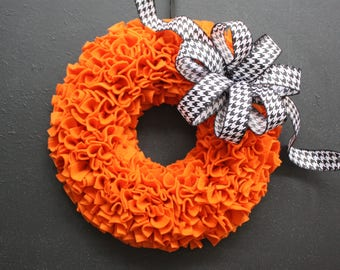 Halloween Wreath, Orange Fall Wreath, Mad Hatter Decor, Pumpkin Rag Wreath, Thanksgiving Wreath, Autumn Wreath, Modern Wreath, Canada Wreath
