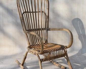 Franco Albini Mid Century Rattan Bamboo Cane Rocking Chair 50s 60s
