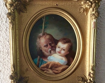 Sale Antique Oil Painting Portrait of a St. Joseph Holding Baby Jesus Biblical Religious Art O/WP Gold Gilt Frame Home Decor