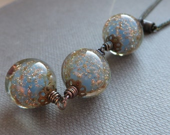 Vintage Blue Opal Rose Gold Murano Venetian Glass Black Silver Necklace