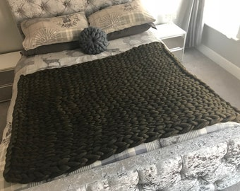 "Merino medium 38"" x 56"" chunky knit blanket"