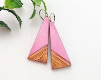 Hand crafted and hand painted jewelry, Pink and brown pyramid triangle earrings, Made from air dry clay, Not polymer, Sterling silver hooks