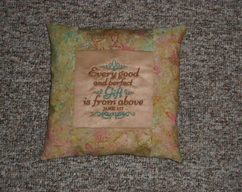 Embroidered Inspirational Handmade Pillow, Religious Decor, Decorative Pillow, Accent Pillow, Complete Pillow