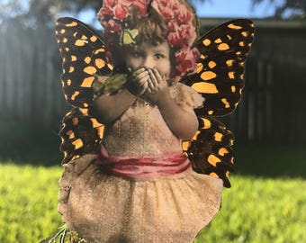 """Fairy with Real Butterfly Wings// Custom Available// Mason Jar// """"Sweet Secrets"""""""