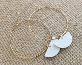 Faux Leather Earrings, Ring Earrings, Circle Earrings, Simple Earrings, Gift for Her
