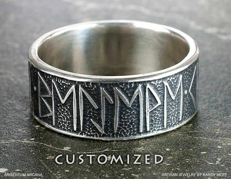 Mens Custom Viking Rune Ring Unique Mans Wedding Ring