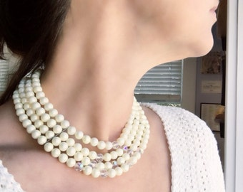 Vintage 4-Strand Faux Pearl and Crystal Choker