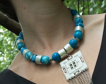 On the Fringe necklace - blue stone, Hill Tribe Silver, upcycled vintage pendant
