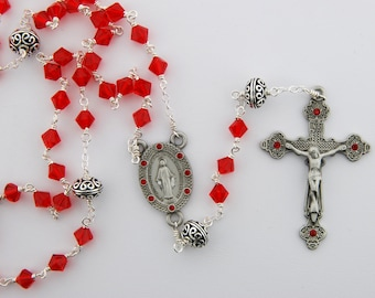 Swarovski Crystal Rosary in Light Siam Red- Bali beads, wire wrapped, Sterling silver and pewter