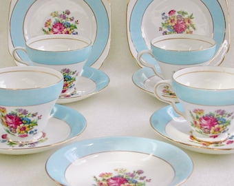 Taylor Kent English Bone China Blue Band Floral Set
