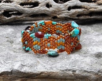 Jewelry - Free Form Peyote Stitch Beaded Bracelet  - Bead Weaving - BOHO - Turquoise