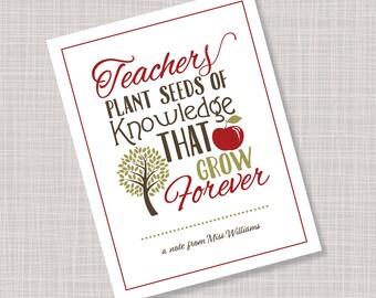 Custom Personalized Teacher Apple & Tree Note Cards