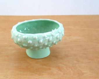 Pottery Pedestal Planter • Drip Glaze Hobnail Polka Dot • Seafoam Spring Green USA Planter