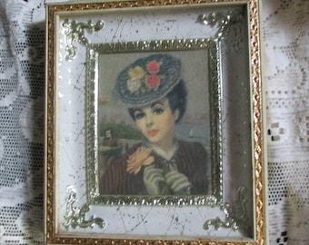 REDUCED Vtg Ornate Speckled Cream Gold Metal Shadowbox Style Framed  Victorian Lady Fancy Hat Huldah Look