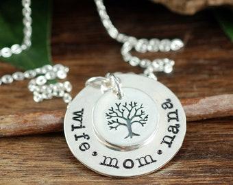 Frau Mama Nana, Stammbaum Halskette, Baum des Lebenhalskette für Mutter, Mütter, Silber Halskette, Geschenk für Mutter, Geschenk, Geschenk für Oma