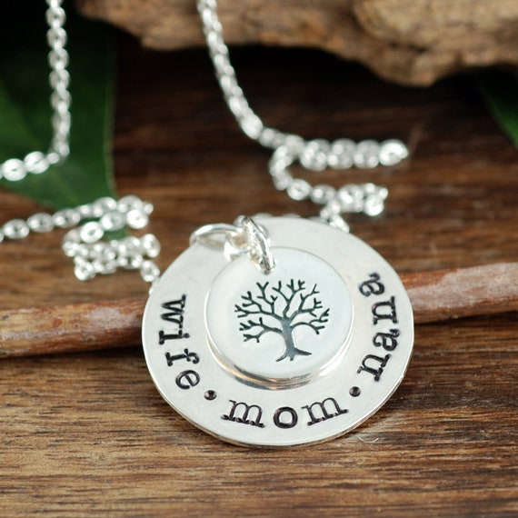 Wife Mom Nana, Family Tree Necklace, Tree of Life Necklace For Mom, Mothers Day Gift, Silver Necklace, Gift for Mom, Gift for Grandma