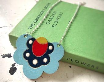 Polish Folk Flower wooden laser cut Necklace (Blue)