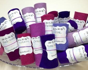 Wool Felt Rolls, Purple, Remnants, Felt Ribbon, Felted Wool, Felt Rolls, DIY Crowns, Felt Flowers, Applique, Embroidery, Ultra Violet