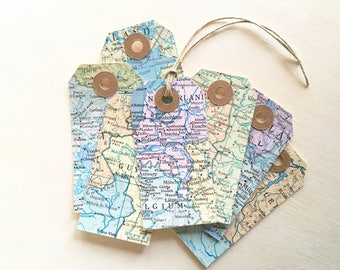 Pastel Map Tags, Travel Theme Wedding, Shower, Party Favor Tags, Gift Tags, Kraft Reinforcements, Cream Cardstock Backing, Rustic, Set of 12